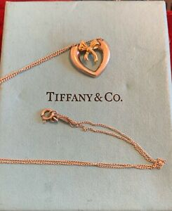 Genuine Tiffany & Co Silver heart with 18ct gold bow - Necklace