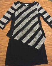 *Sandra Darren* Stretch Knit Sweater Comfort Dress Black/Gray Sz10 M 3/4 sleeves