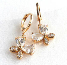 Women Girl Simulated Diamond Butterfly Dangle Earrings 18K Yellow Gold Plated