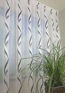 NEU Exklusive Gardine Voile Muster schwarz-weiß Kräuselband Bleiband NACH MAß