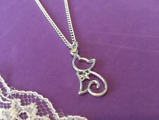 Cat Necklace, Cute Cat Necklace , Silver Plated Cat Necklace With Rhinestone