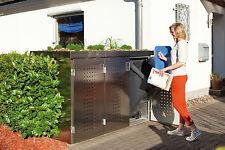 Binto Müllbox System 3er-Box mit Pflanzschale Edelstahlvariante 3