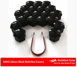 Black Wheel Bolt Nut Covers GEN2 22mm For Range Rover Sport [LW] 13-18