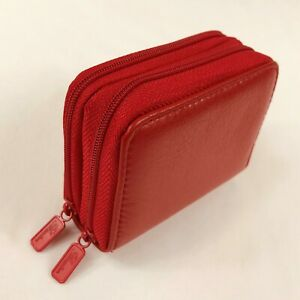 Buxton Red Leather Zip Up Small Mini Accordion Wallet RFID