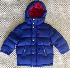 POLO RALPH LAUREN $165 Boys Down Puffer Jacket Coat Hooded Navy Blue 2 2T NWT
