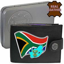 SOUTH AFRICA Mens Klassek Leather Wallet SOUTH AFRICAN Flag map gift Metal Box