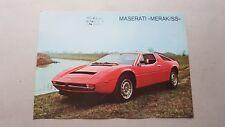 Maserati Merak SS 1976 depliant originale auto epoca genuine car brochure