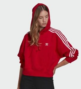 Adidas Adicolor Classics Women's Trefoil Cropped Hoodie in Red