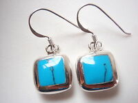Reversible Blue Turquoise Mother of Pearl 925 Sterling Silver Square Earrings