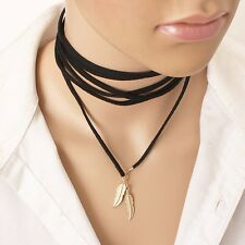 Black Soft Suede Style Lace Necklace Wrap Tie Choker with Gold Feather Tips