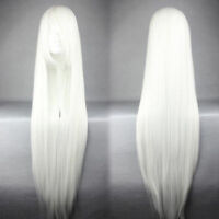 New White Synthetic 100cm Long Straight  Cosplay Wig