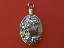 Antique Sterling Silver Snuff perfume bottle embossed lady Charm Pendant [*]