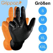 50 Grippaz Einweghandschuhe Arbeitshandschuhe Nitril Handschuhe orange / schwarz