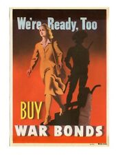 Vintage Window Sticker Label BUY WAR BONDS We're Ready Too WW2 Women in War