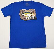 LET'S GO FISHING T-shirt Baja Mexico Tee 100% Cotton Men XL Blue New