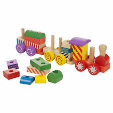 KIDS CHILDRENS 17 PC WOODEN TRAIN PLAY SET ROLE PLAY COLOURFUL WOOD TOY