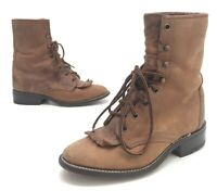 Laredo Boots Womens Distressed Brown Leather Lace Up Cowboy Boots Size 5.5M