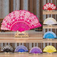 Fabric Folding Fan Lace Flower Painting Pattern Polyester Fan Xmas Wedding AUMO