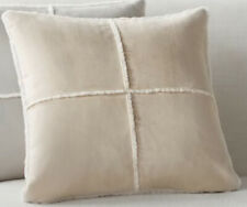"Pottery Barn Lot of 2 Faux Shearling Pillow Covers 18"" X 18"" Beige"