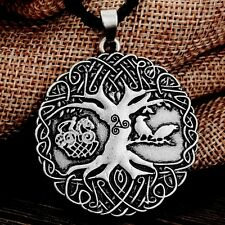 Pendant On Braided Black Cord Necklace Antique Silver Tone Norse Tree Of Life