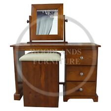HANDMADE SOLID PINE BALTIC DRESSING TABLE SET IN BROWN MAHOGANY (ASSEMBLED)