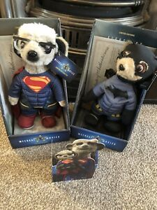 BNWT 2 Compare the Meerkat Plush Soft Toys Batman vs Superman Boxed Certs NEW