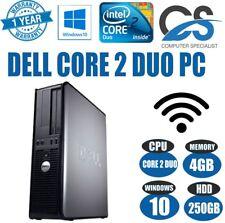 Windows 10 Dell Optiplex Ordenador Sobremesa Torre Pc Intel 4gb Ram 250gb HDD