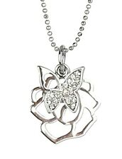 Kette silber Blume Schmetterling Strass by Ella Jonte kurze Halskette butterfly