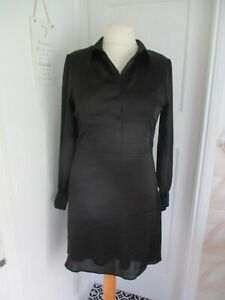 V by Very Black Button Front Long Sleeve Satin Shirt Style Dress Size 14 BNWT