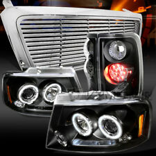 04-08 F150 Black Dual Halo Projector Headlamp+LED Tail Lamp+Chrome Billet Grille