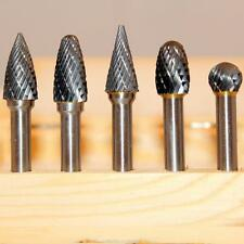 """Kent 5 Assorted Carbide Rotary Burrs With 1/4"""" Shank and 3/8"""" Double Cut Heads"""