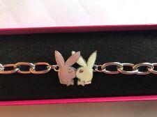 Playboy Glittery Pink & White Bunny Bracelet (RHD Plate & Swarovski) in Gift Box