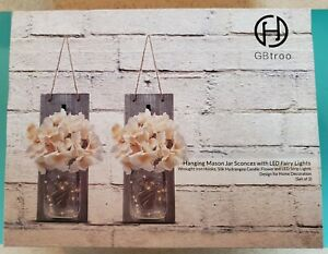 Set of 2 Rustic Wood Mason Jar Sconce Lamp Wall Hangings with LED Lights New