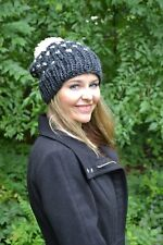 NEW Hand Made Knitted Women's Fair Isle Beanie Hat Toque Charcoal Gray USA made