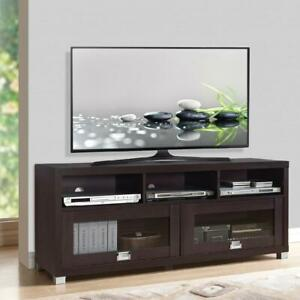 75 Inch TV STAND Center Console Cabinet Flat Screen Home Media Cabinets Espresso