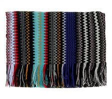 Missoni Blue/Black Long Zigzag Fringe Scarf