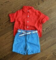 Janie and Jack Baby Boys Shirt and Short Set - 6-12 Months Red Blue Nautical