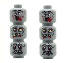 6 Custom Designed Minifigure Heads Zombie Alien UFO Monsters Printed on LEGO