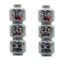 6 Custom Designed Minifigure Heads Zombie Alien UFO Monsters Printed on LEGO