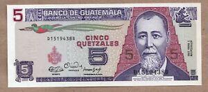 GUATEMALA - 5 QUETZALES - 3.1.1990 - P74a - UNCIRCULATED