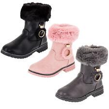 Gefütterte Mädchen Stiefeletten Stiefel Schuhe Lederoptik Fell Reißverschluss