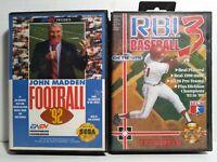 Sega Genesis 2 Game Lot NFL John Madden Football 92 & MLB RBI Baseball 3