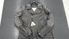 AL WISSAM LEATHER MOTORCYCLE JACKET W/SILVER STUDS SIZE XL - BRAND NEW!!