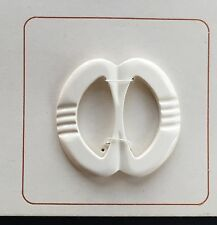 Vintage Buckles - 1950's White Casein Buckle with carved design