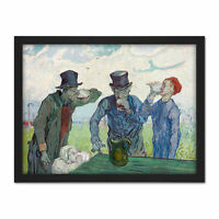 Van Gogh The Drinkers Painting Large Framed Art Print