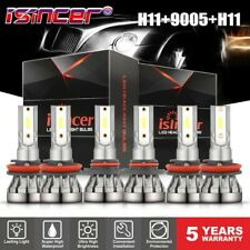 3 Sets Combo H11 9005 H11 LED Car DRL Headlight Kit High Low Beam Fog Bulbs
