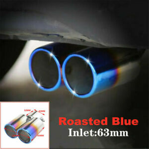 63mm Inlet Toasted Blue Stainless Steel Car Tail Rear Dual Exhaust Muffler Pipe