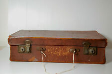 Vintage Leather Suitcase 1930s-1940s for Display Props Décor