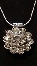"Vintage White Crystal Snap, Silver Snap Pendant & 26"" .925 Sterling Silver Chain"