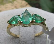 1.35 cts Genuine Zambian Emerald Trilogy Size 7 Ring in 10k Yellow Gold